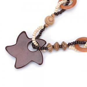 Women Vintage Bohemian National Wind Ocean Starfish Wood Bead Pendant Necklace Fashion Jewelry Birthday Present Collar -