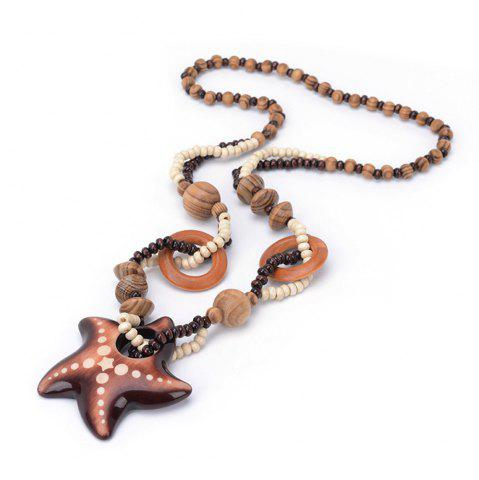 Affordable Women Vintage Bohemian National Wind Ocean Starfish Wood Bead Pendant Necklace Fashion Jewelry Birthday Present Collar