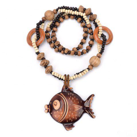 Store Women Fashion Jewelry Ocean Winds Style Wooden Big Fish Bead Pendant Necklace