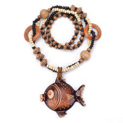 Women Fashion Jewelry Ocean Winds Style Wooden Big Fish Bead Pendant Necklace -