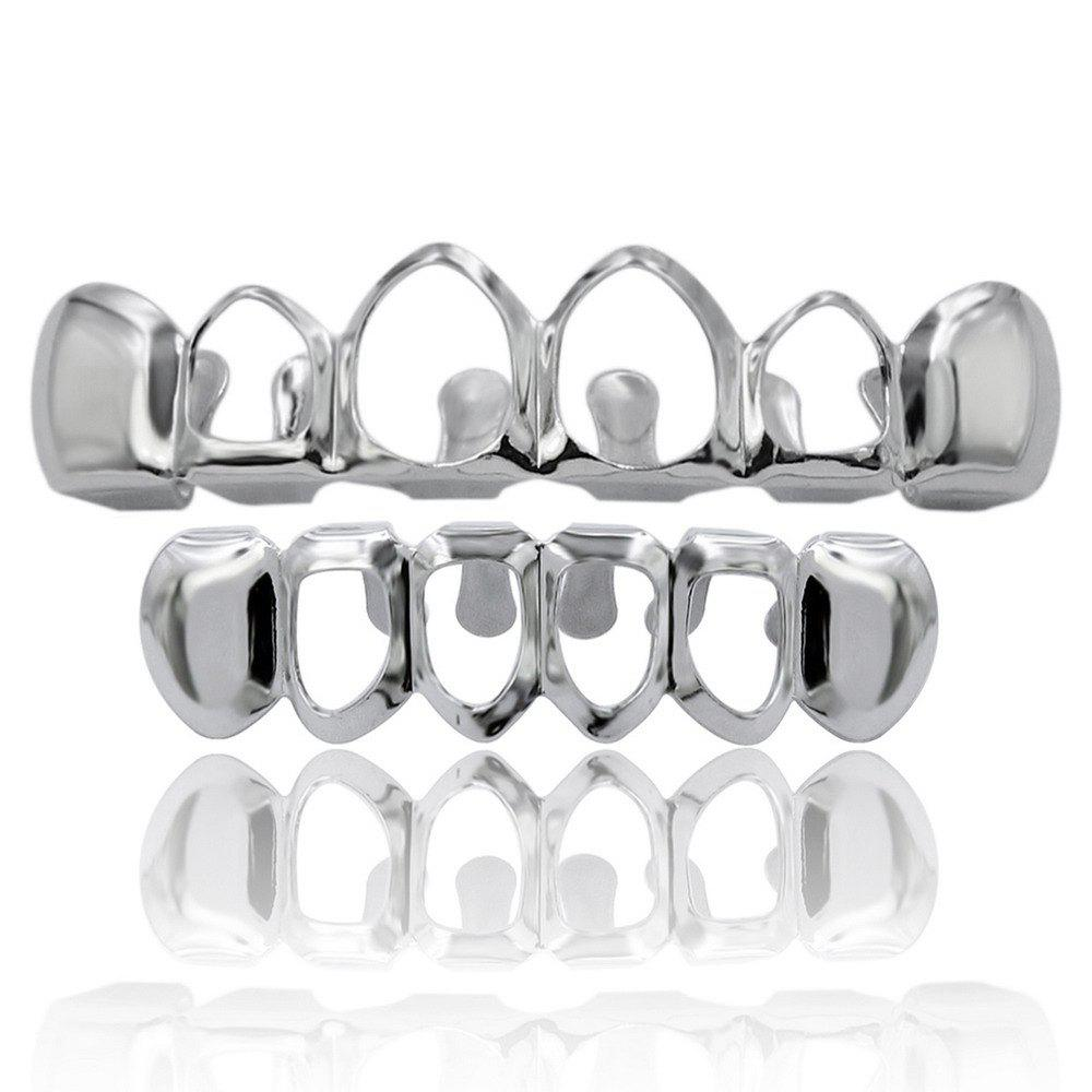 Affordable Hip Hop 18K Gold Plated Hollow Teeth Grillz
