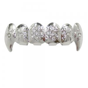Dents Grillz en Vampire de Plaqué Or 18K Hip Hop -