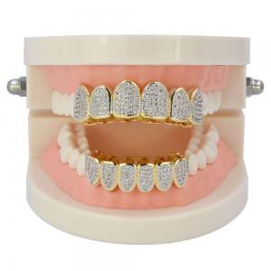 Hip Hop 18K Gold Plated Vampire CZ Stone Teeth Grillz -