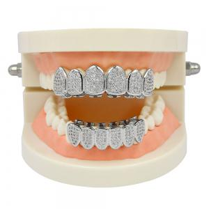 Hip Hop 18K Plaqué Or Vampire CZ Pierre Dents Grillz -