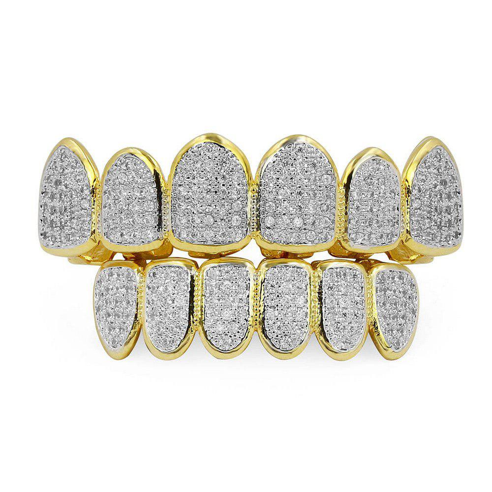 Online Hip Hop 18K Gold Plated Vampire CZ Stone Teeth Grillz