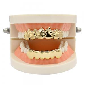 Hip Hop 18K Gold Plated Fire Teeth Grillz -