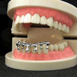 Hip Hop 18K Gold Plated Water drops Teeth Grillz -
