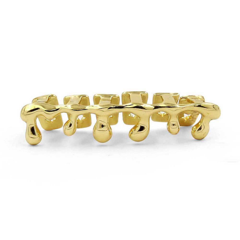Hip Hop 18K plaqué or gouttes d'eau dents Grillz