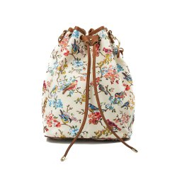 Drawstring Backpack For Women Waterproof Drawstring Sports Bag (White & flower) -