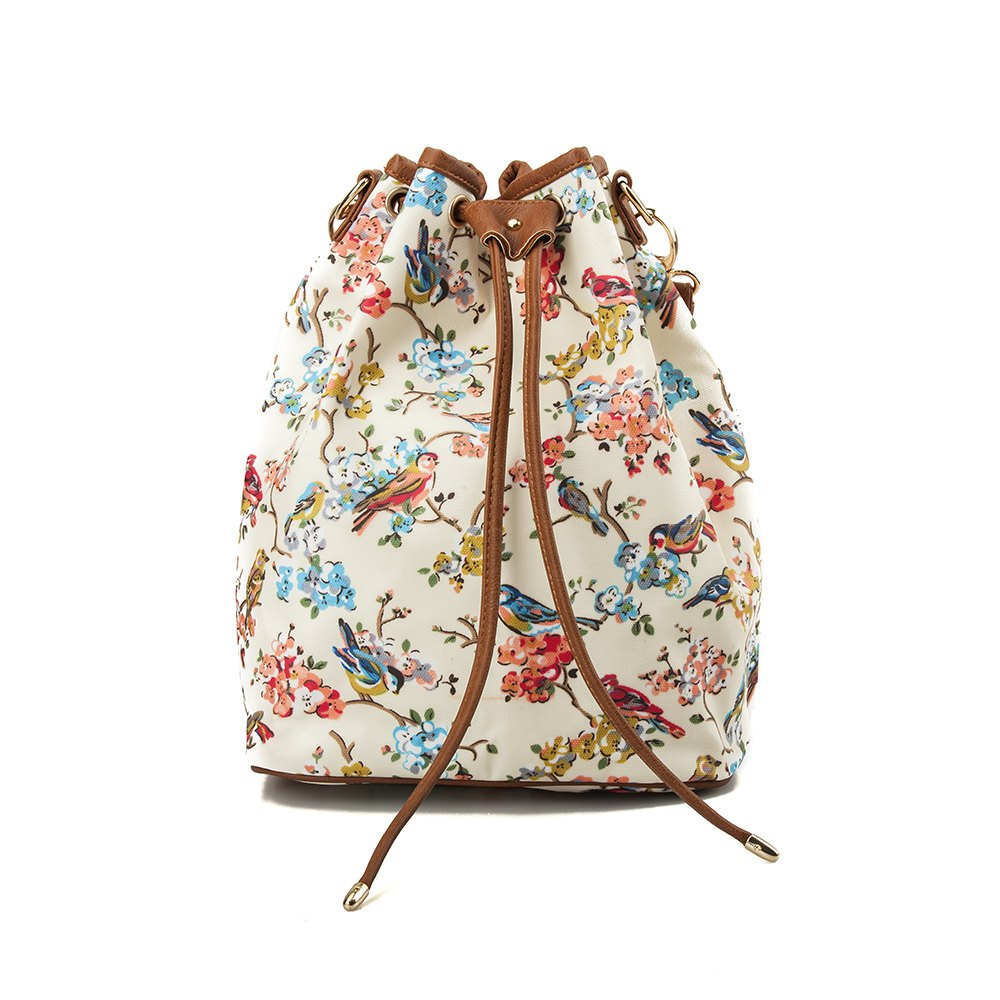 New Drawstring Backpack For Women Waterproof Drawstring Sports Bag (White & flower)