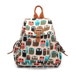 School Backpacks For Girls Floral Canvas Backpack College Backpack Owl -