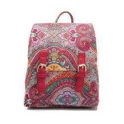 Small Canvas Backpack For Women Mini Backpack Floral Backpack Red -