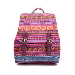 Small Canvas Backpack For Women Mini Backpack Floral Backpack Stripe -