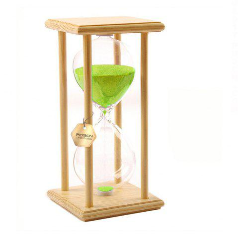 Online POSCN 30 Minutes Durable Glass Hourglasses Crude Wood Sand Timer for Time Management LP9007-0005