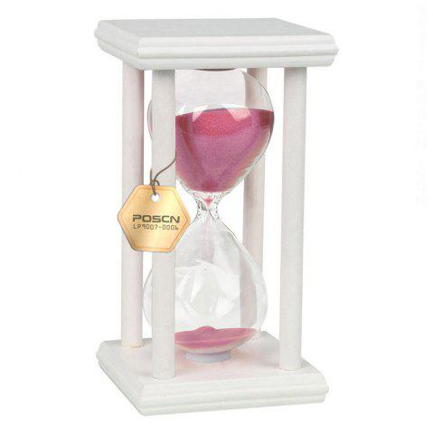 Fancy POSCN 15 Minutes Durable Glass Hourglasses White Wood Sand Timer for Time Management LP9007-0008