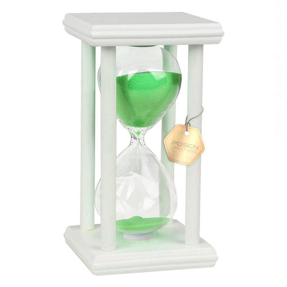 Latest POSCN 15 Minutes Durable Glass Hourglasses White Wood Sand Timer for Time Management LP9007-0008