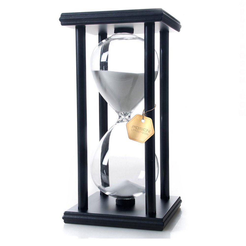 Chic POSCN 60 Minutes Durable Glass Hourglasses Black Wood Sand Timer for Time Management LP9007-0010