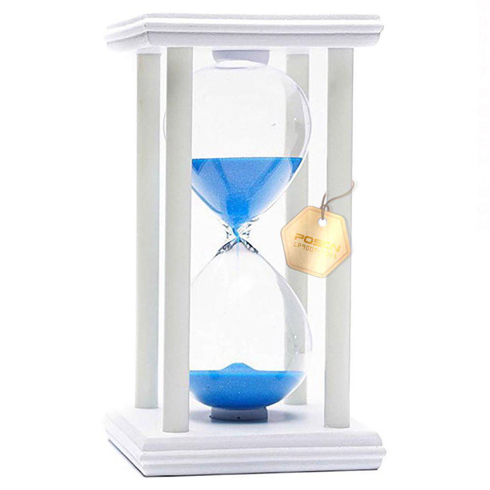 Chic POSCN 60 Minutes Durable Glass Hourglasses White Wood Sand Timer for Time Management LP9007-0018