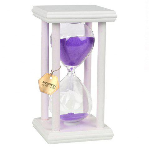 Trendy POSCN 45 Minutes Durable Glass Hourglasses White Wood Sand Timer for Time Management LP9007-0021
