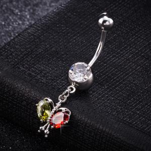 Colorful Butterfly Zircon Navel Ring P0264 -