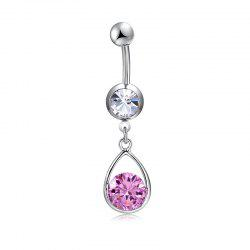 Simple Pierced Water Drop Exquisite Zircon Navel Ring P0267 -