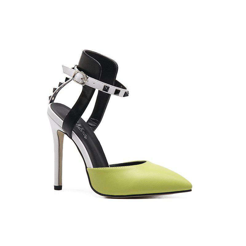 Chic Rubber Sole Lady Sexy Rivet High Heels