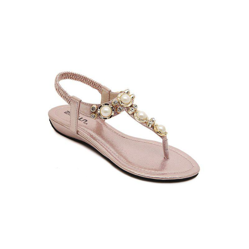Outfit Ladies Rubber Sole Water Drill String Large Size Sandal Sandals