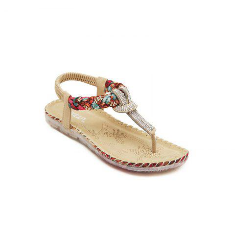 Trendy Ladies Rubber Sole Water Drill Big Foreign Trade Flat Sandals