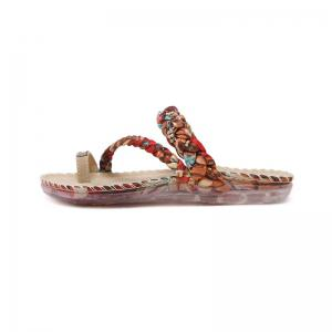 Ladies Rubber Sole Water Drill Clip Toe Foreign Trade Large Beach Sandals -