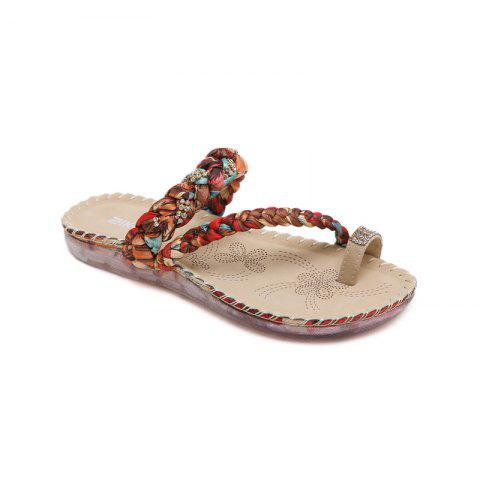 Fashion Ladies Rubber Sole Water Drill Clip Toe Foreign Trade Large Beach Sandals