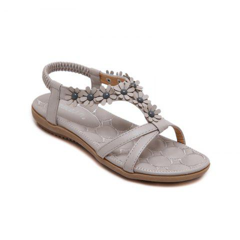 Hot Ladies Rubber Sole Applique Large Size Beach Sandals