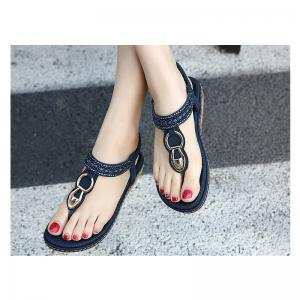 Ms Rubber Sole Diamond Flat Thong Sandals -
