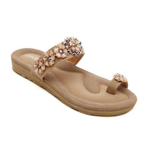 Cheap Ladies Rubber Sole Water Drill String Beads and Foot Sandals