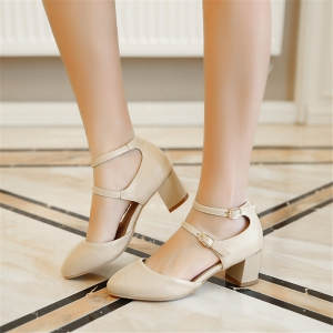 Miss Shoe C-10 Round Head Thick Heel Fashion Single Shoe -