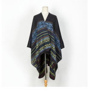 Literature and art back to ancient Chinese cashmere geometric pattern thickening warm shawl -