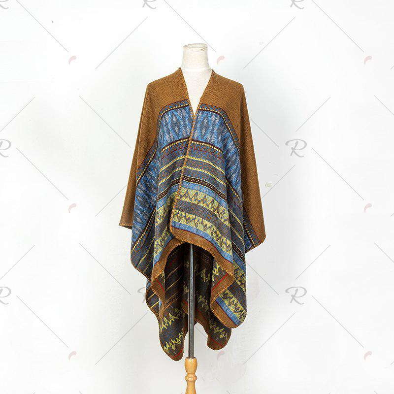 Hot Literature and art back to ancient Chinese cashmere geometric pattern thickening warm shawl