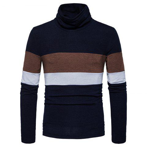 Hot New Men'S Striped Turtleneck Collar Slim  SweaterMJ30