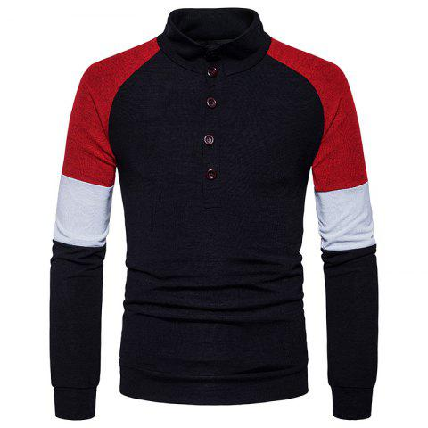 Latest New Men'S Fashion Color Button Collar Long Sleeved Knit Sweater MJ40