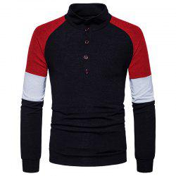 New Men'S Fashion Color Button Collar Long Sleeved Knit Sweater MJ40 -