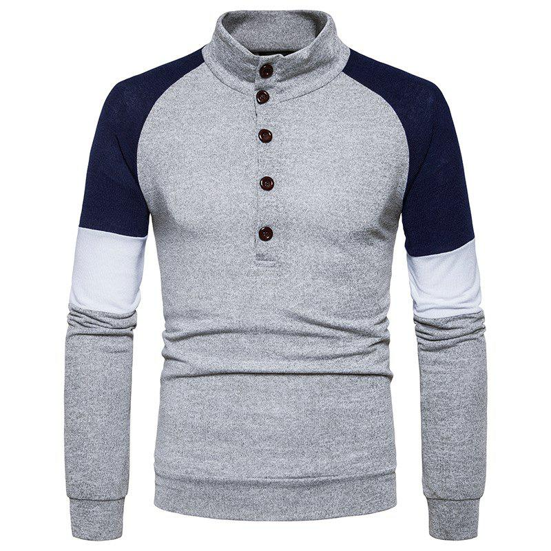 Hot New Men'S Fashion Color Button Collar Long Sleeved Knit Sweater MJ40