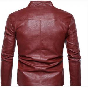 New Men'S Fashion Leather Coat Collar Fold Zipper Button PY25 -