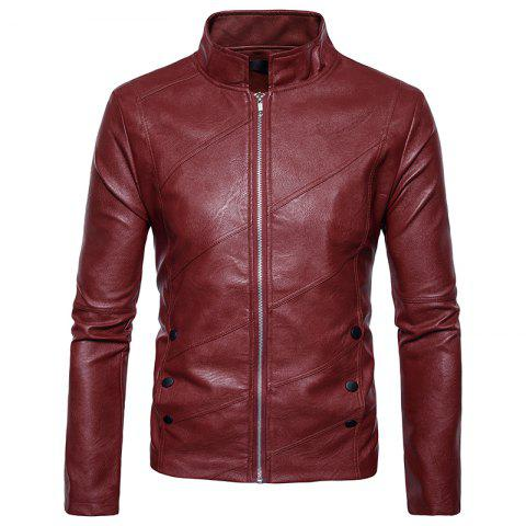 Sale New Men'S Fashion Leather Coat Collar Fold Zipper Button PY25