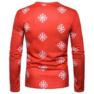 New Men'S Characteristic Letters 3D Printing Lovely Elk Round Collar Long Sleeved T-Shirt CT370 -