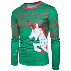 Fashion Trend Men 3D Cartoon White Dragon Horse Printing Round Long Sleeved T-Shirt CT367 -