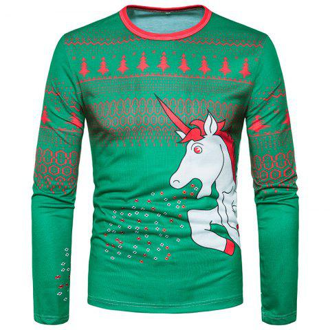 Latest Fashion Trend Men 3D Cartoon White Dragon Horse Printing Round Long Sleeved T-Shirt CT367