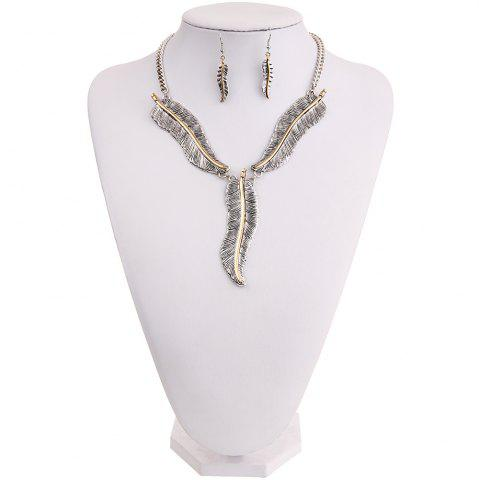 Outfits Fashion Personality Feather Pendant Necklace Earrings Jewelry Set Ladies Jewelry
