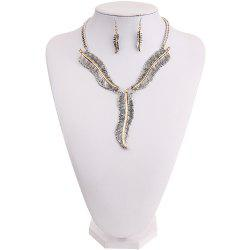 Fashion Personality Feather Pendant Necklace Earrings Jewelry Set Ladies Jewelry -