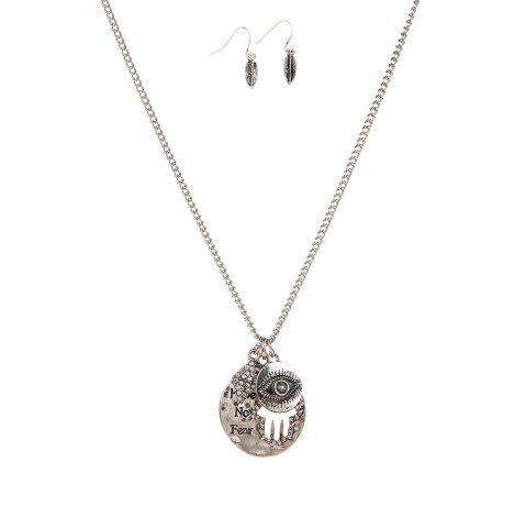 Latest New Letter Necklace Eye Palm Long Sweater Chain Popular Personalized Earrings and Necklaces Jewelry Set