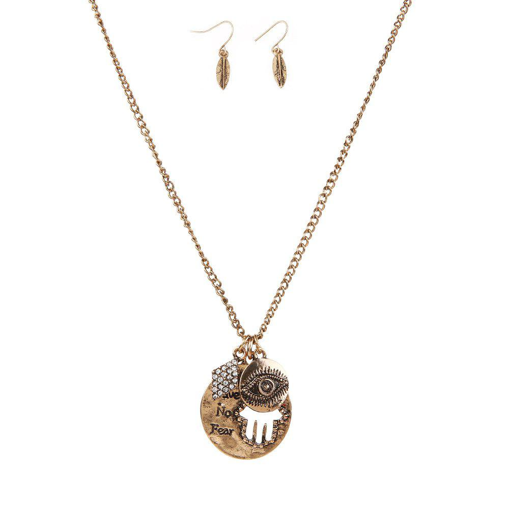 Shops New Letter Necklace Eye Palm Long Sweater Chain Popular Personalized Earrings and Necklaces Jewelry Set