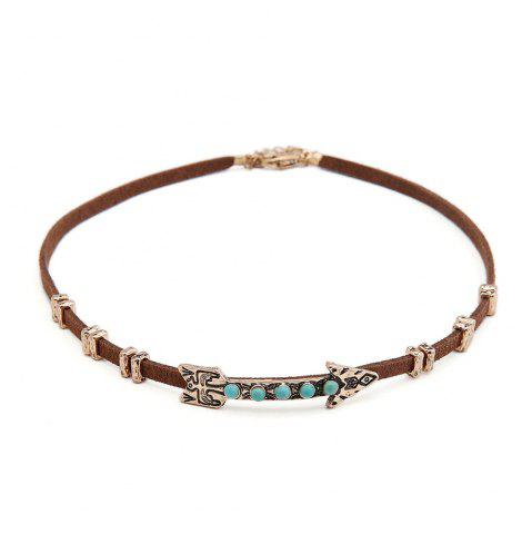 Outfit New Creative European Style Choker Necklace Personality Women Arrow Pattern leather Necklace Short necklace Jewelry